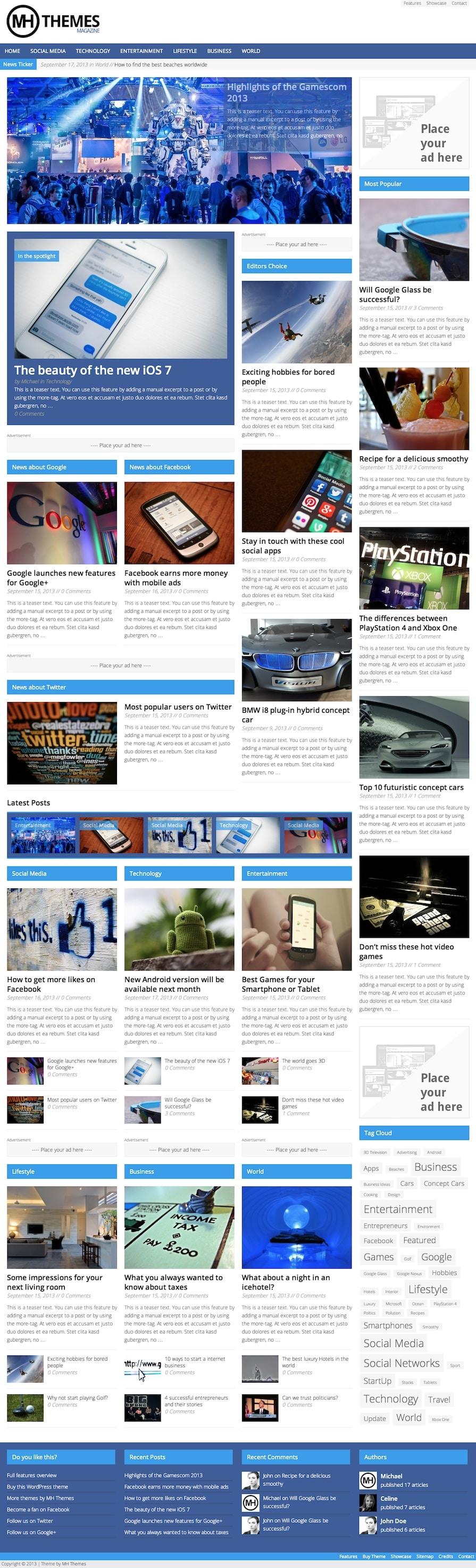 MH Magazine WordPress Theme (Demo 2)