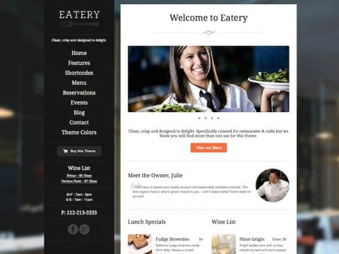 Eatery Restaurant WordPress Theme