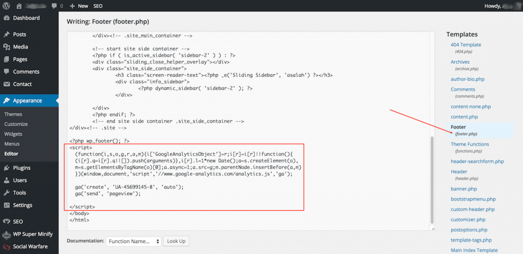 Theme Editor GA Tracking Code