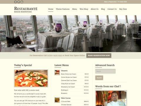 Restauranté WordPress Theme