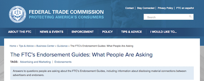 FTC Endorsement Guides