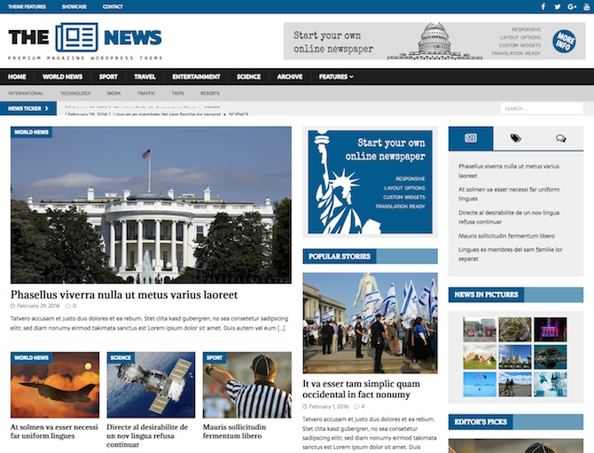 Get A Dynamic News WordPress Theme For Online News Magazines