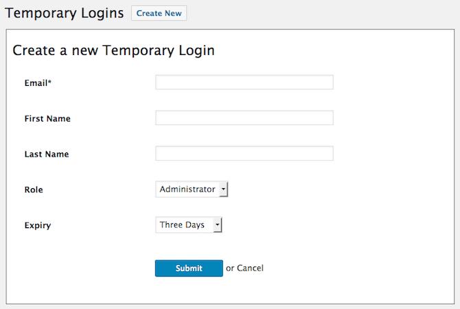 Temporary Logins Form