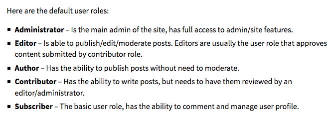 User Roles WordPress