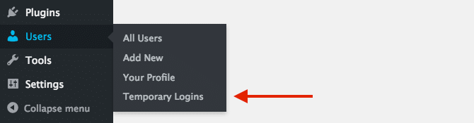 Users Temporary Login Menu