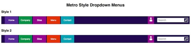 Metro Style Dropdown Menus