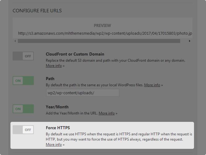 WP Offload S3 lite Force HTTPS