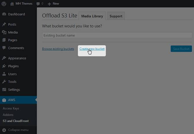 WordPress create New Bucket
