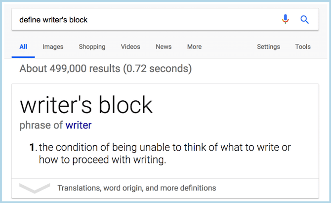 Definition Writer's Block