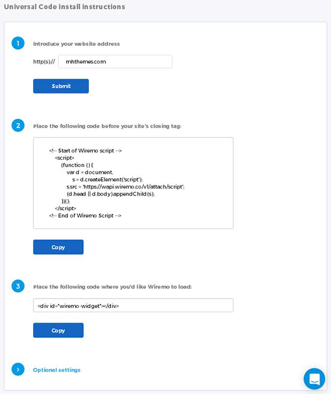 Wiremo Dashboard Install Tab