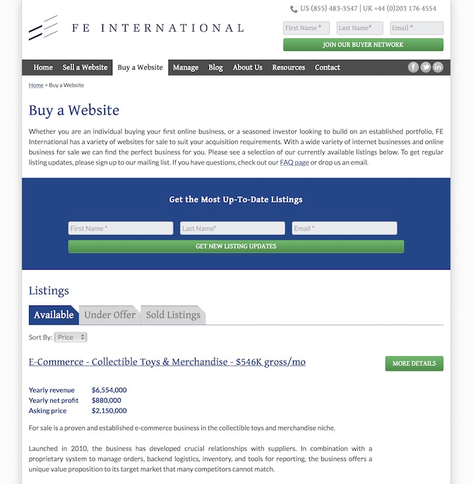 FE International Listings