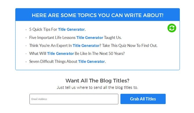 SEOpressor Blog Title Generator Results