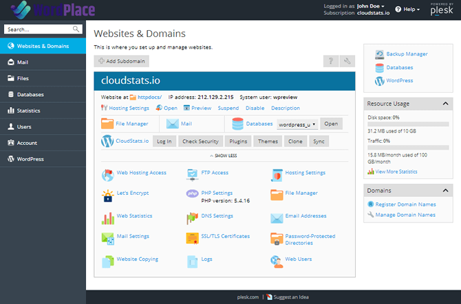 WordPlace Plesk Control Panel