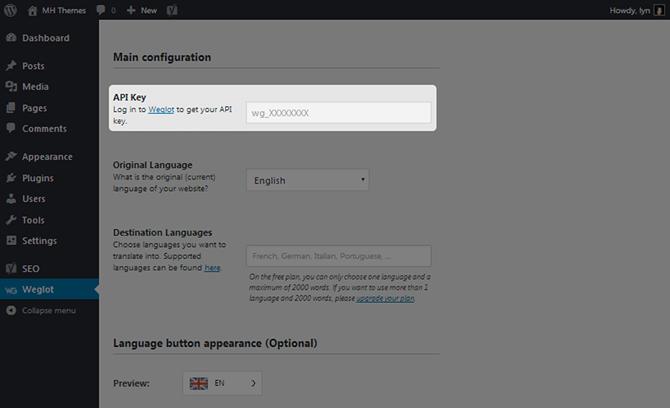 Weglot API Key Box