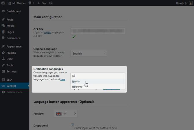 Weglot Destination Languages