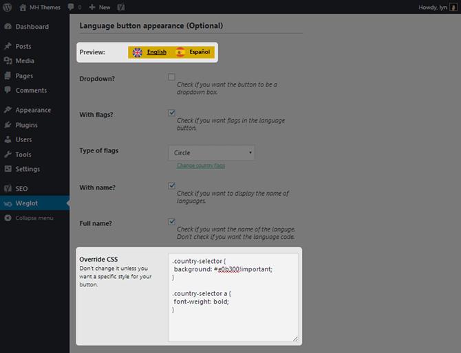 Weglot Override CSS