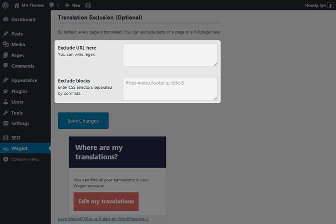 Weglot Translation Exclusions