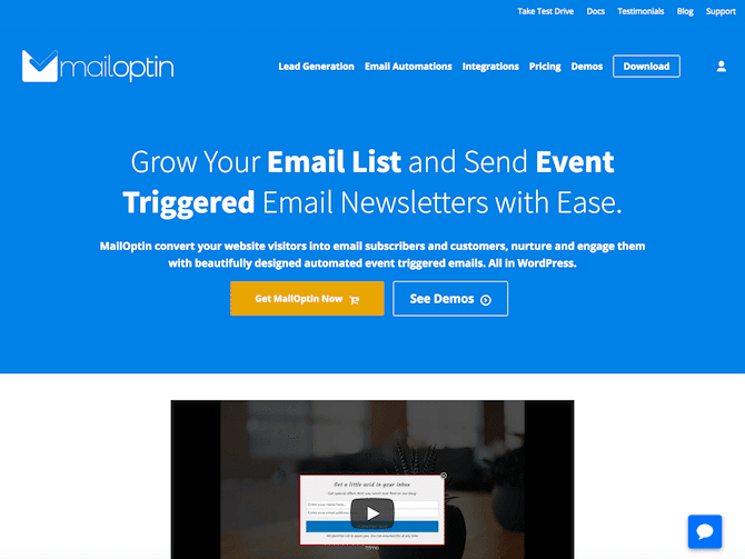 MailOptin Review - Homepage