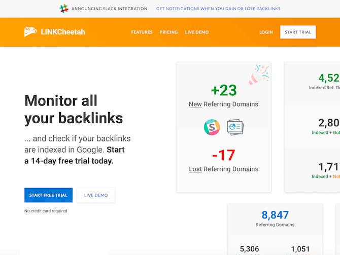 LINKCheetah Review - Homepage