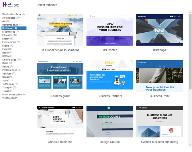 Hostinger Website Builder Templates