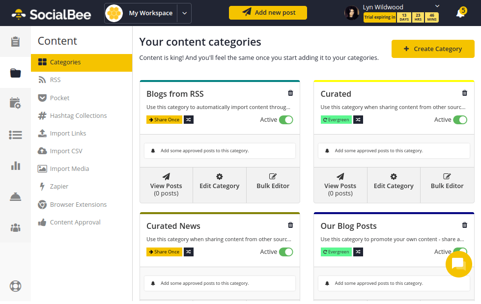 SocialBee - Categories