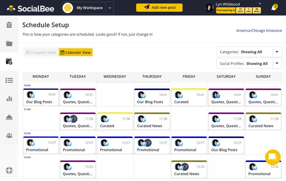 SocialBee - Default Schedule