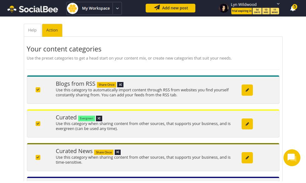 SocialBee - Onboarding - Categories