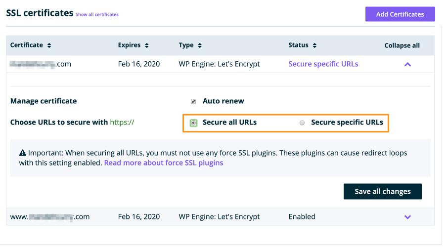WP Engine - SSL Certificate